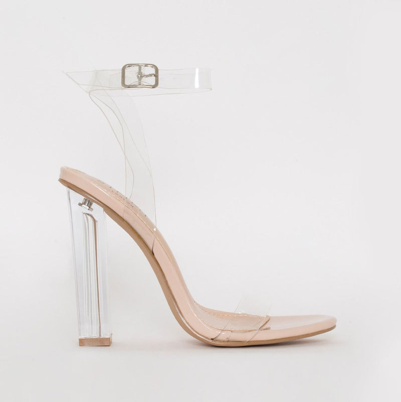 Nude Patent Clear Block Heels