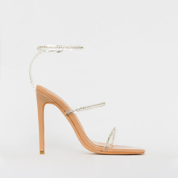 Nude Patent Clear Diamante Stiletto Heels