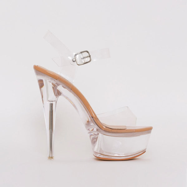 Nude Patent Clear Platform Heels