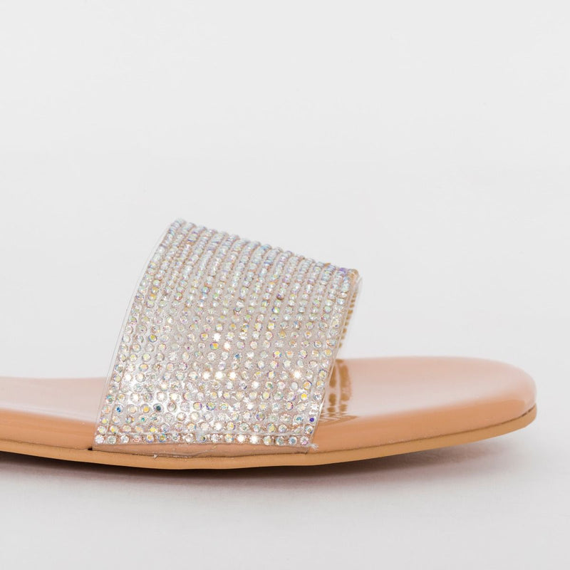 Nude Patent Diamante Sliders