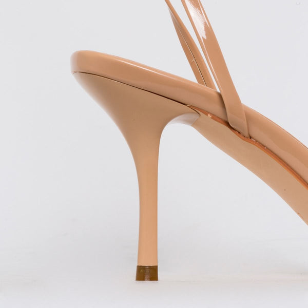 Nude Patent Lace Up Mid Stiletto Heels