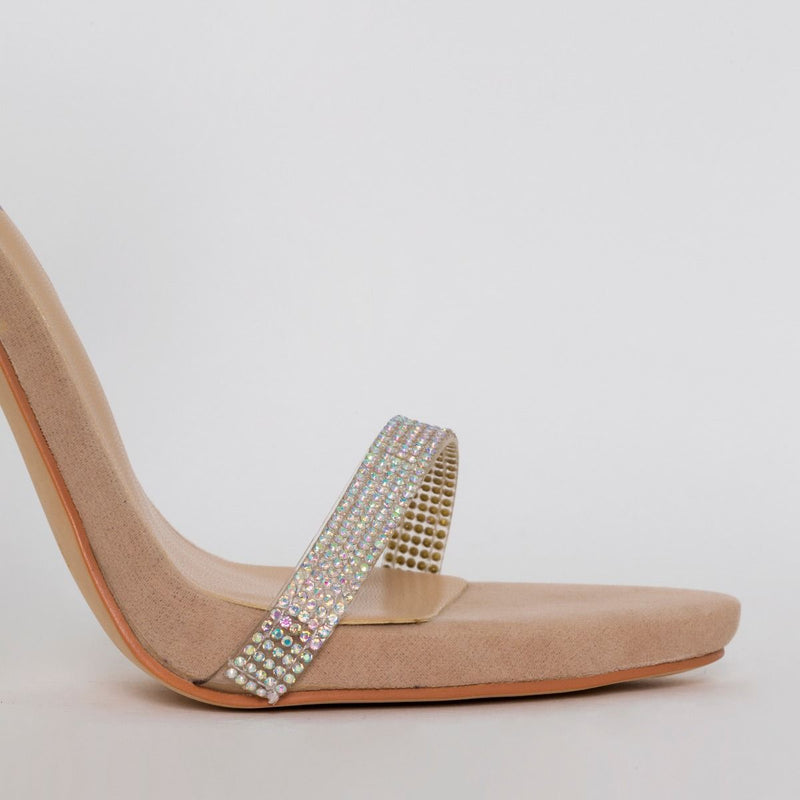 Nude Suede Clear Diamante Heels