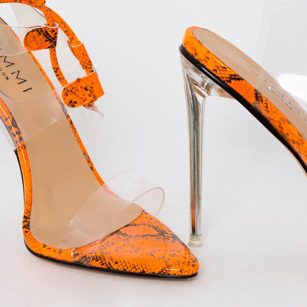 Orange Patent Snake Print Clear Lace Up Heels