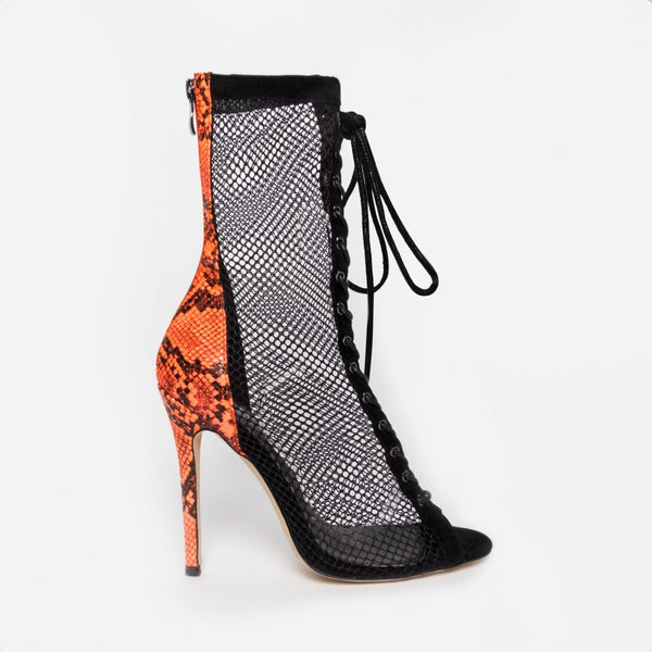Orange Snake Mesh Lace Up Ankle Boots