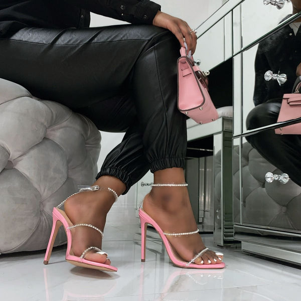Pink Patent Clear Diamante Stiletto Heels