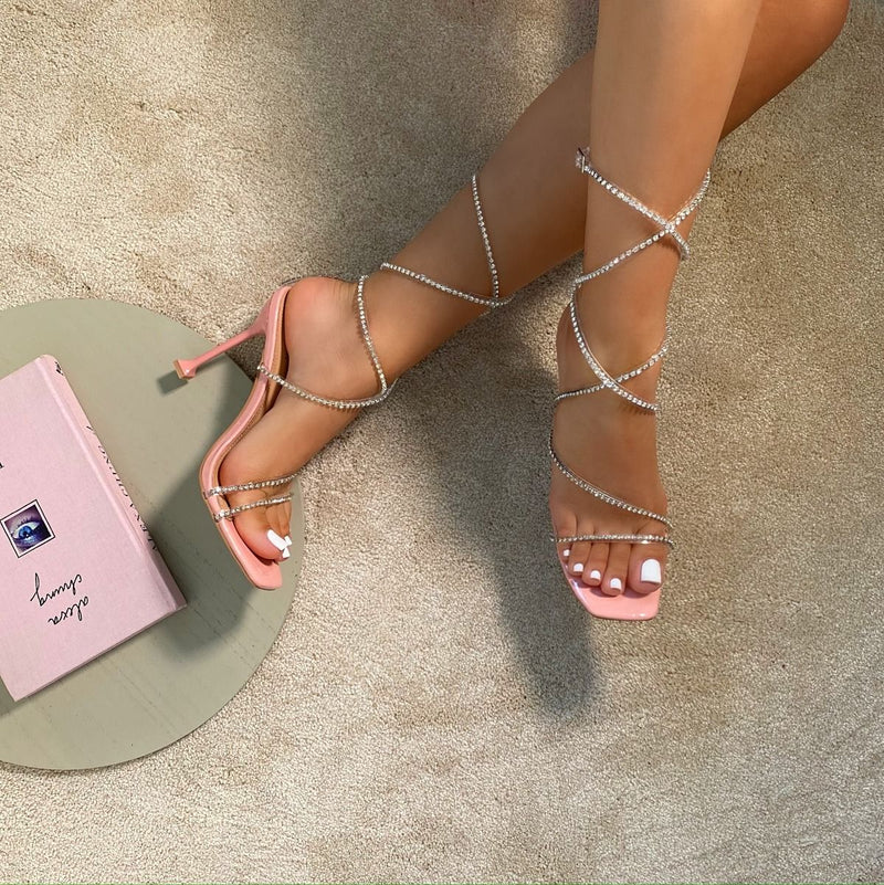 Pink Patent Clear Diamante Strappy Heels