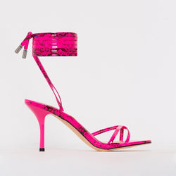 Pink Patent Print Lace Up Mid Stiletto Heels