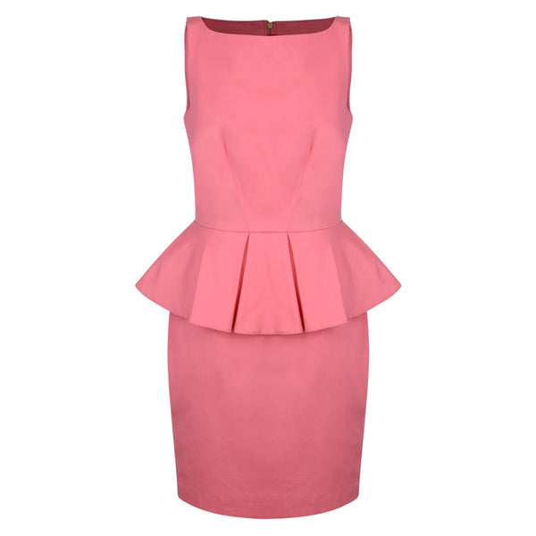 Pink Peplum Sleeveless Dress