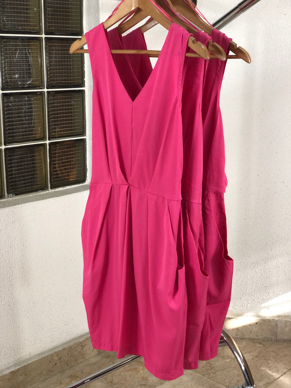Pink V Neck Tie Back Dress