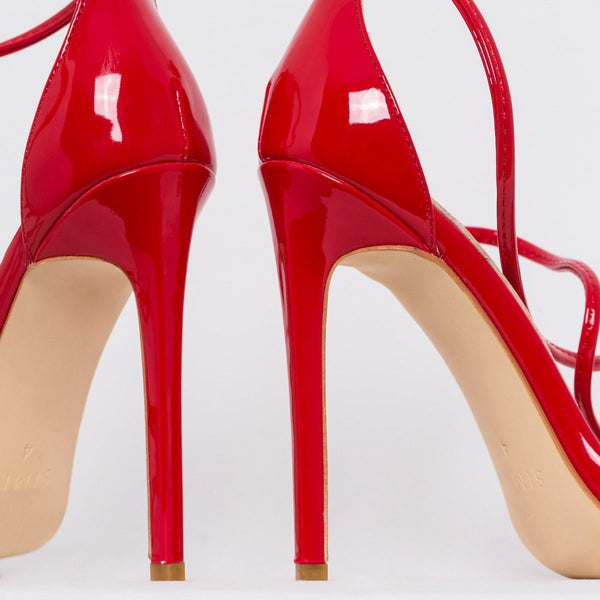 Red Patent Strappy Stiletto Heels