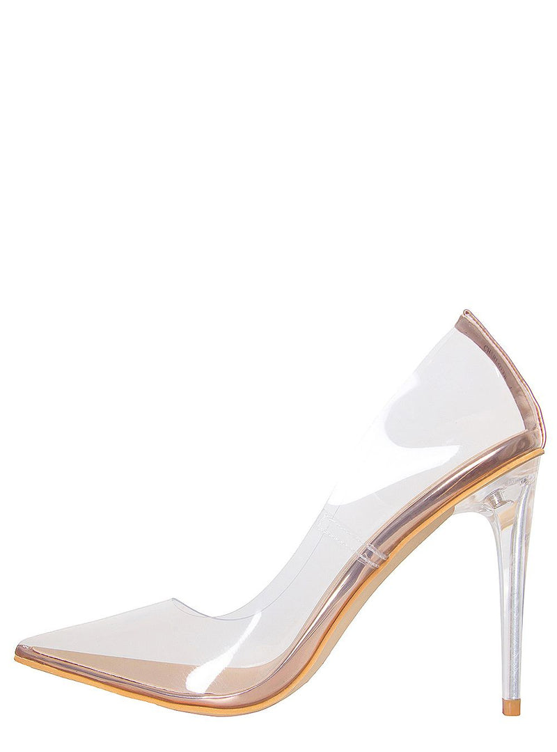 Rose Gold Clear Stiletto Court Shoes