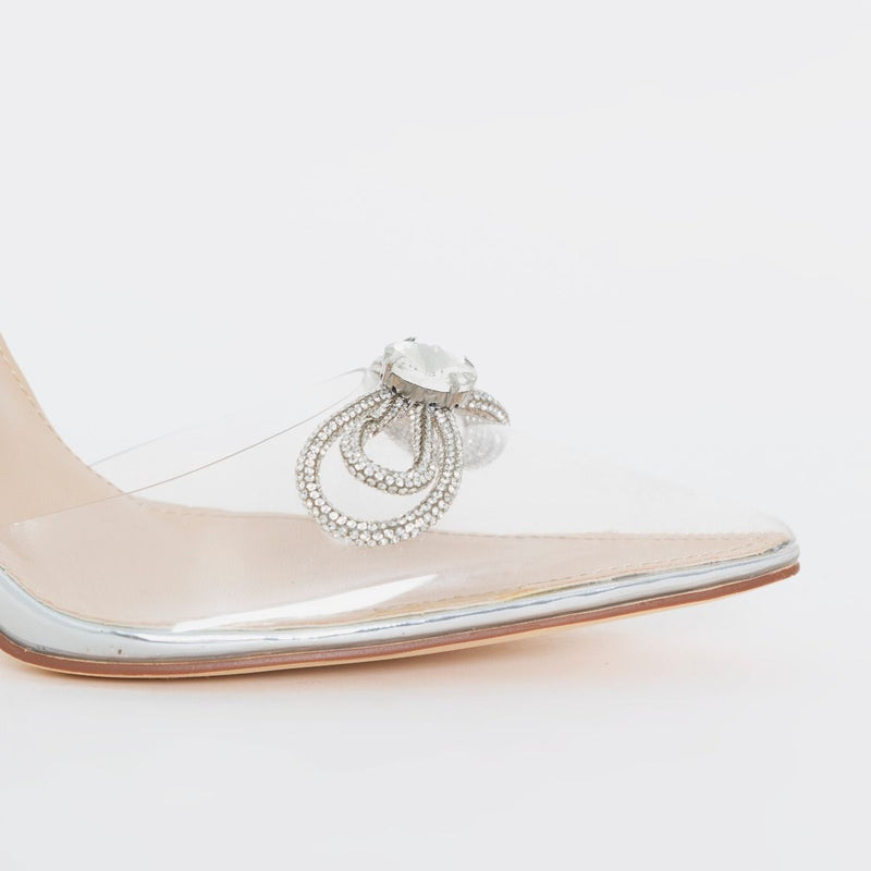 Silver Clear Diamante Bow Slingback Court Shoes