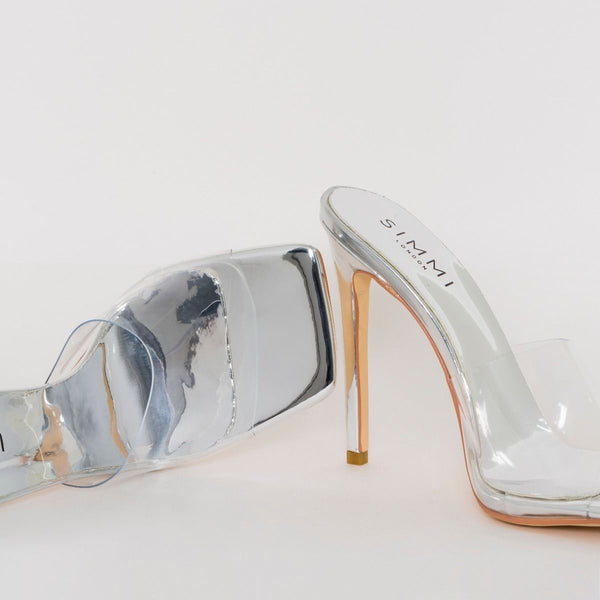Silver Clear Stiletto Mule Heels