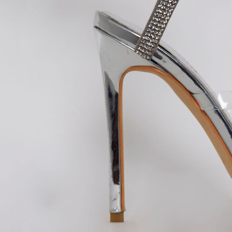 Silver Diamante Cuff Stiletto Heels
