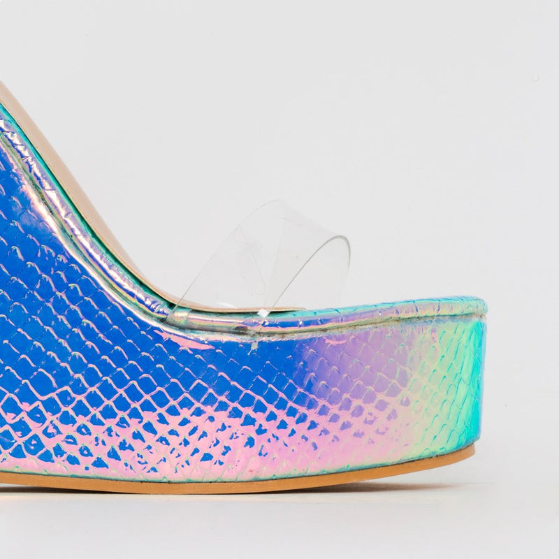 Silver Iridescent Snake Print Clear Tie Up Wedge