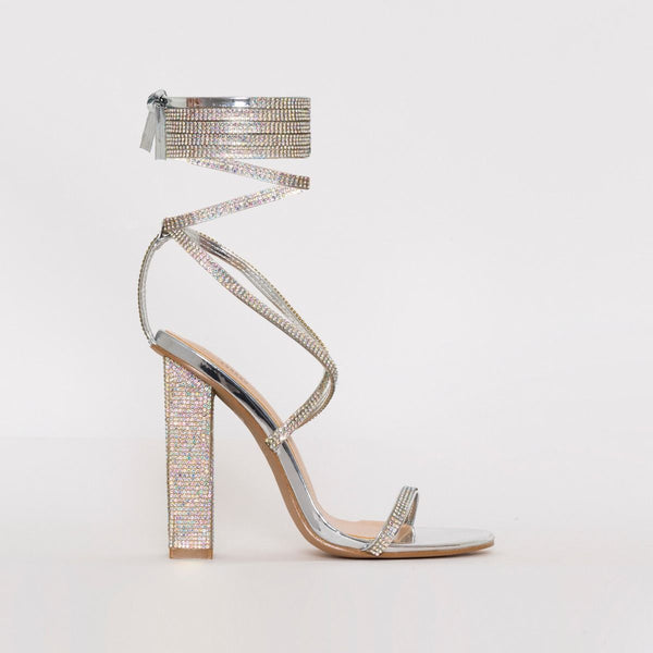 Silver Mirror Lace Up Diamante Block Heels