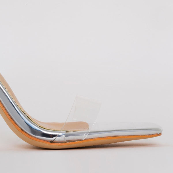 Silver Mirror Tie Up Heels