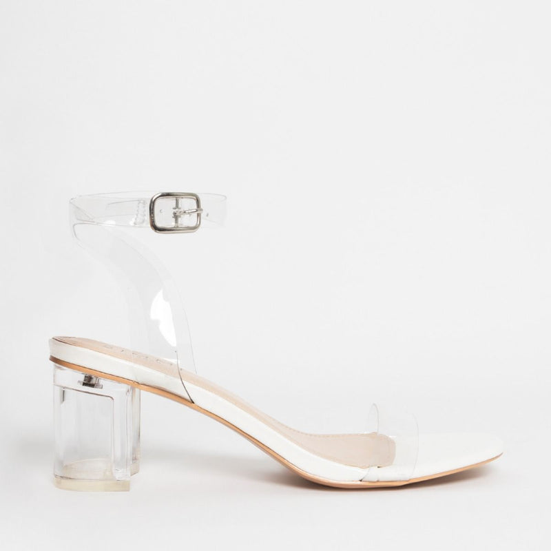 White Clear Mid Block Heels
