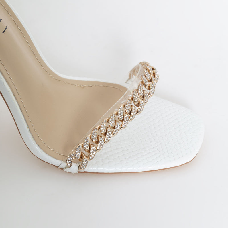 WHITE FAUX SNAKE PRINT DIAMANTE CHAIN BLOCK HEELS