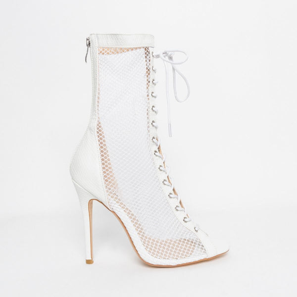 White Snake Mesh Lace Up Ankle Boots
