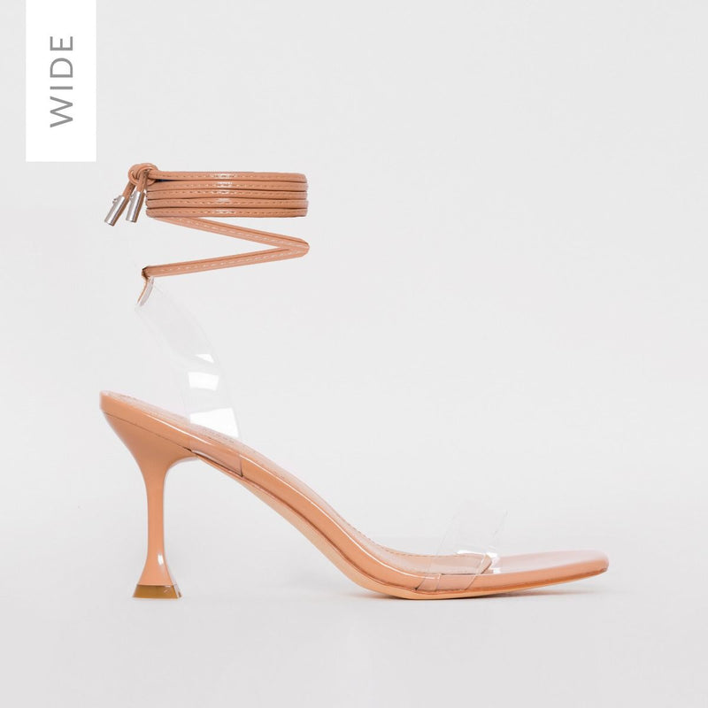 Wide Fit Nude Clear Lace Up Stiletto Heels