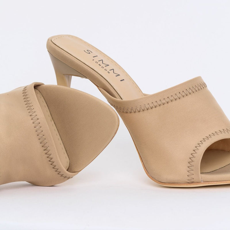 Wide Fit Nude Lycra Stiletto Mules