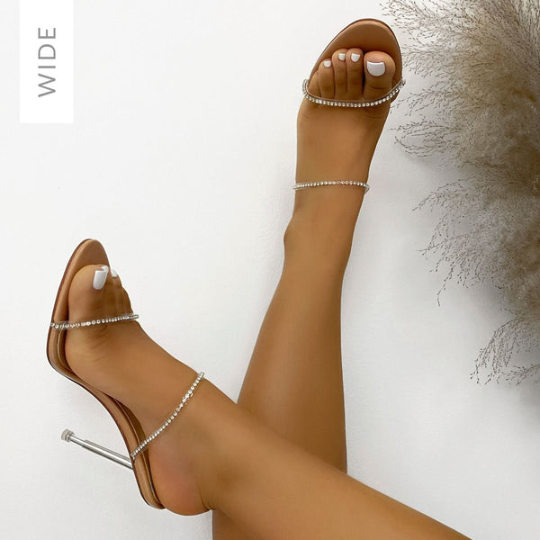 Wide Fit Nude Patent Diamante Mules