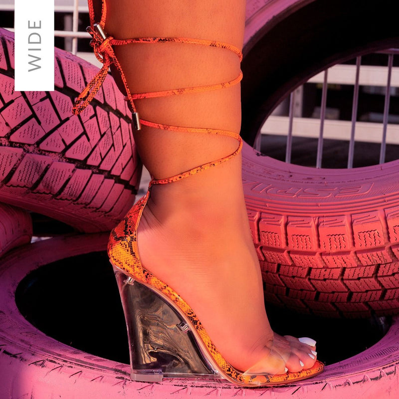 Wide Fit Orange Patent Snake Print Clear Lace Up Wedges