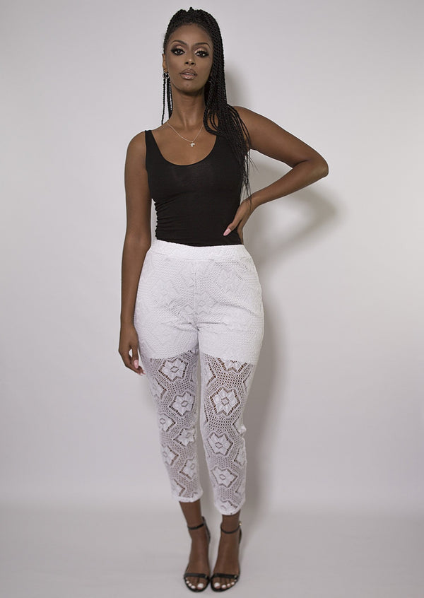 White Omo Lace Trousers