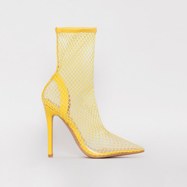 Yellow Fishnet Heels