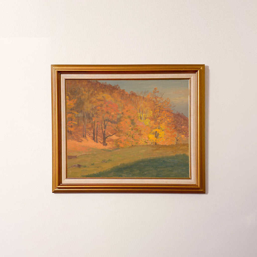 Vintage painting of a serene autumn landscape in soft brown and orange tones.