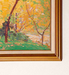 This art titled Mid Autumn depicts a sunny Autumn day. With vibrant warm hues ranging from green, yellows and oranges, it depicts the splendor of an afternoon in the with vibrant autumn leaves.