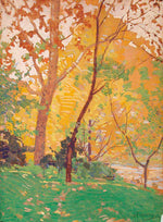 Load image into Gallery viewer, This art titled Mid Autumn depicts a sunny Autumn day. With vibrant warm hues ranging from green, yellows and oranges, it depicts the splendor of an afternoon in the with vibrant autumn leaves.