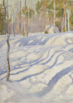 Load image into Gallery viewer, Shades of white, green, and gold depict a bright sunshine dancing through the trees casting dappled shadows on the snow drifts.