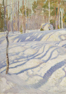 Shades of white, green, and gold depict a bright sunshine dancing through the trees casting dappled shadows on the snow drifts.