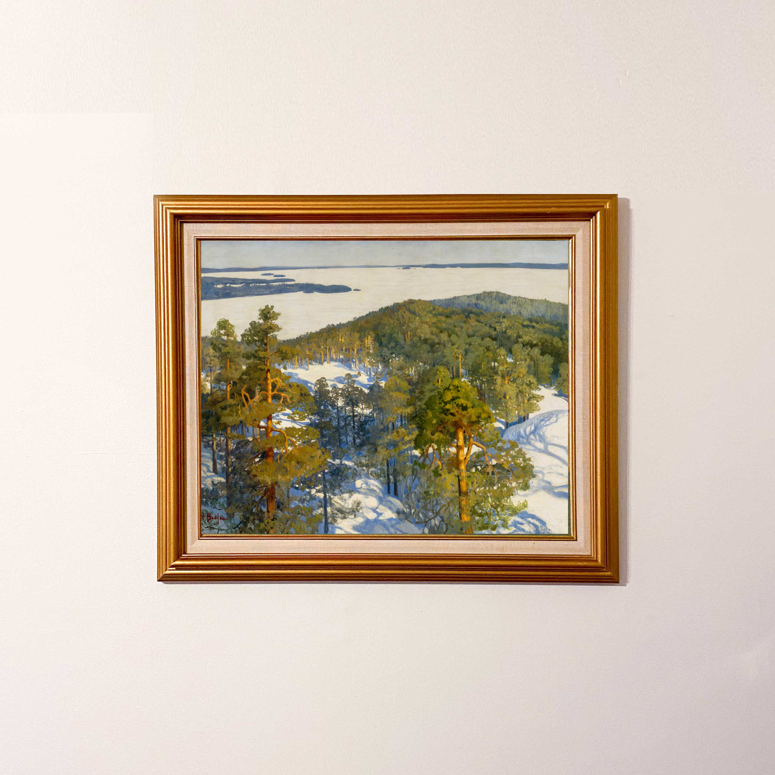 Set atop a mountain, gazing down at the white landscape below. View from the Ridge is a breathtaking painting of an evergreen forest high atop the ridge overlooking the lake below.