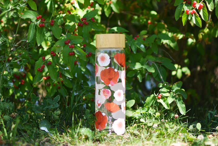 grosche venice glass water bottle red poppy flowers print with bamboo lid