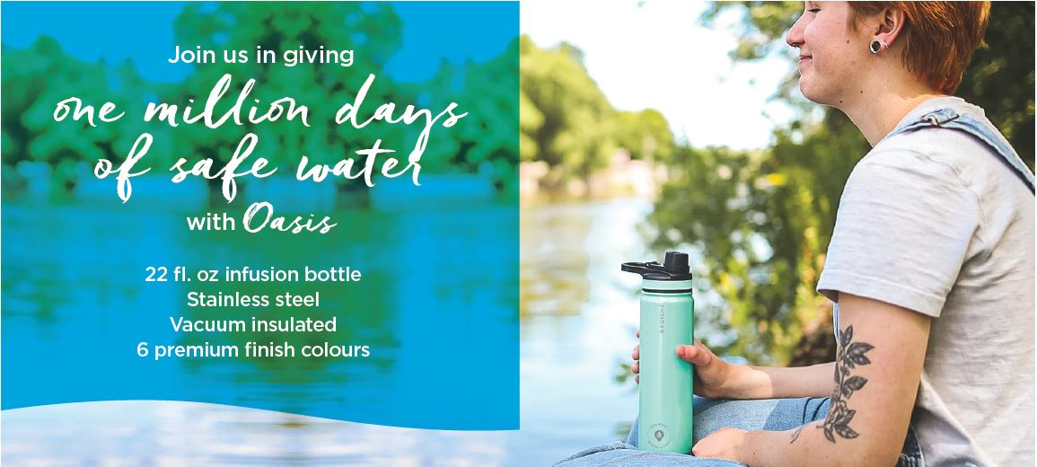 GROSCHE oasis stainless steel bottle campaign to give safe water co branded corporate gifta
