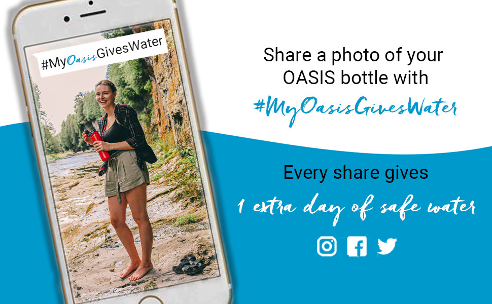 share to give give back program bottle logo yeti hydro flask grosche oasis #myoasisgiveswater