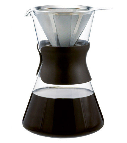 Coffee Dripper: GROSCHE Portland Pour Over Coffee Maker - Brown Sleeve, permanent Stainless Steel filter, 1000ml/34 fl. oz - Package of 2