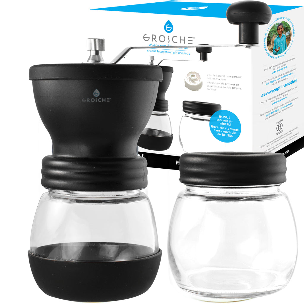 BREMEN Black Manual Burr Coffee Grinder with Extra Storage Canister, 100gx2 cap. - Pack of 2