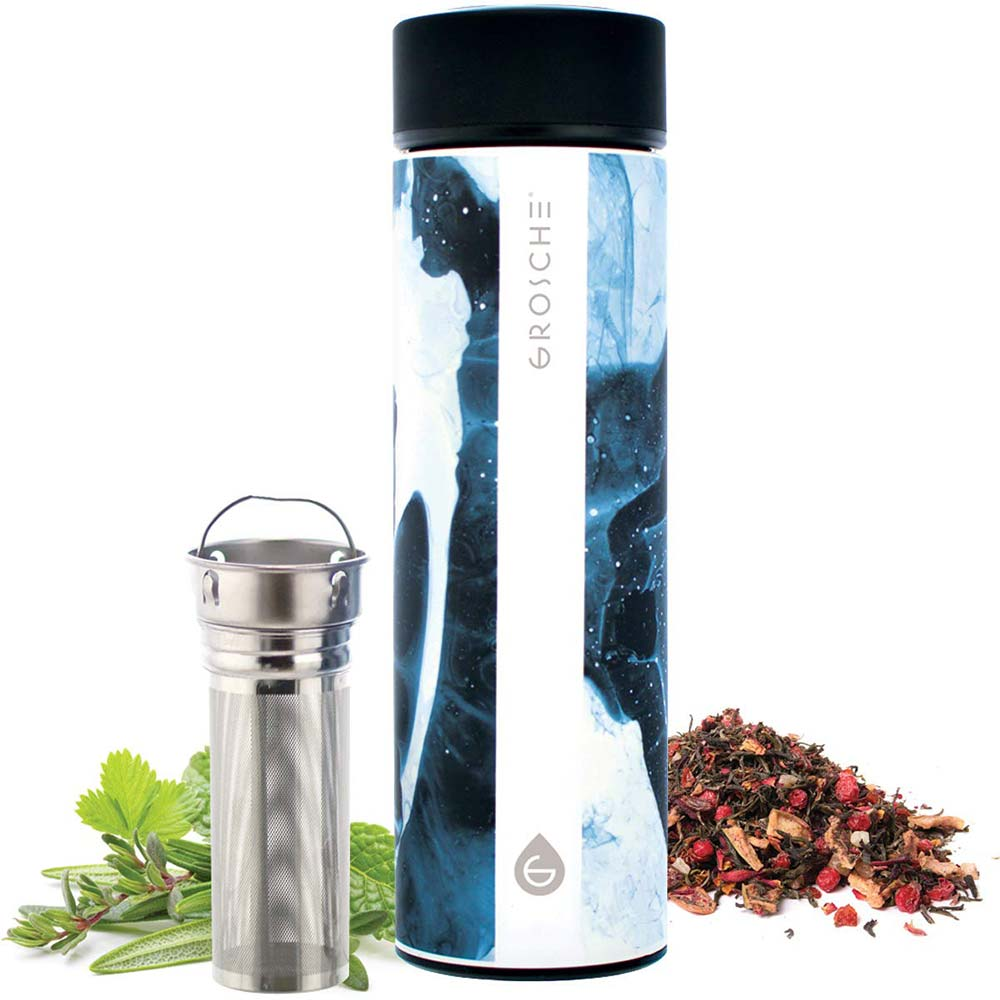Travel Tea Infuser: CHICAGO- Black Marble 450 ml/15.2 fl. oz - Pack of 4