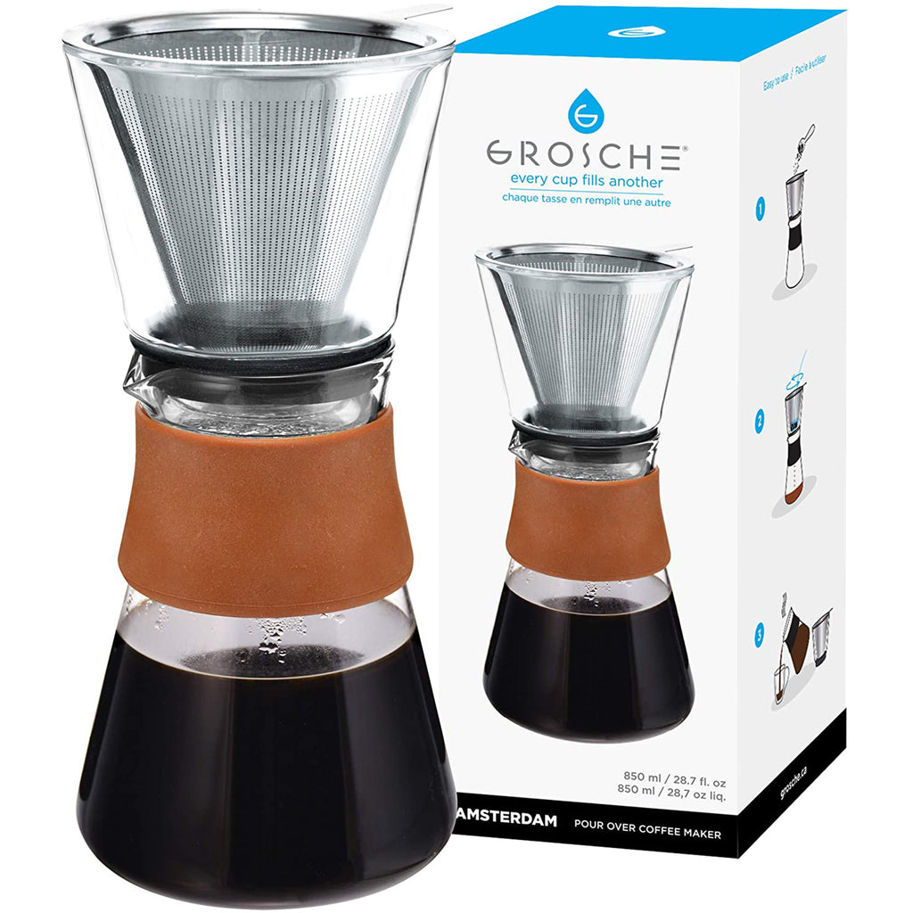 Coffee Dripper: GROSCHE AMSTERDAM Pour Over Coffee Maker - with permanent Stainless Steel filter, 850ml/28.7 fl. oz - Package of 2