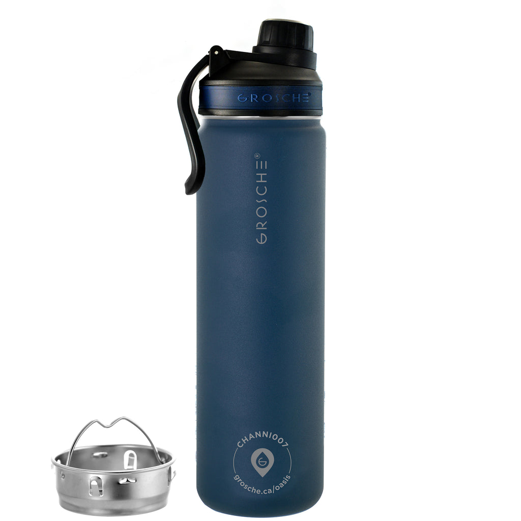 OASIS Fruit Infuser Water Bottle (Mountain Blue) - 650 ml/22 fl. oz - Pack of 4