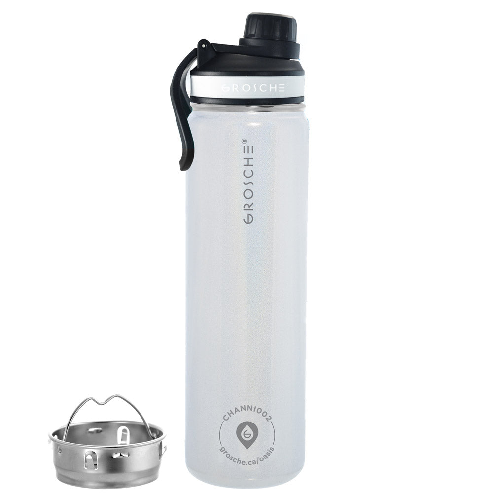 OASIS Fruit Infuser Water Bottle (Pearl White) - 650 ml/22 fl. oz - Pack of 4