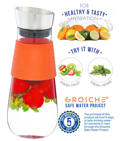 Water Pitcher & Fruit Infuser: GROSCHE Maui - Orange,1000ml/34 fl. oz - Package of 4
