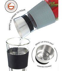 Water Pitcher & Fruit Infuser: GROSCHE Maui - Grey,1000ml/34 fl. oz - Package of 4