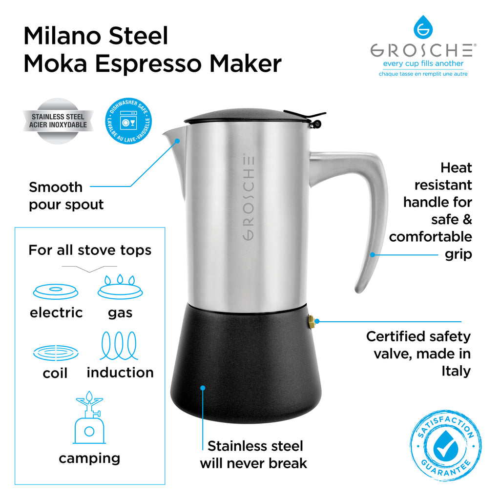 MILANO Steel Brushed Stovetop Espresso Maker - avail. in 2 sizes, pack of 4