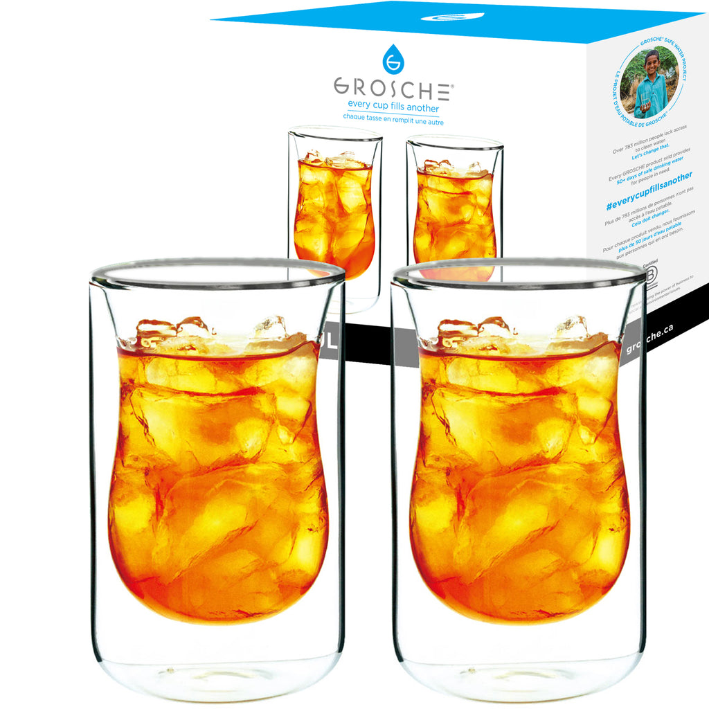 Glassware: GROSCHE Double Walled Istanbul Glasses - 2 x 280ml/9.5 fl. oz - Package of 4