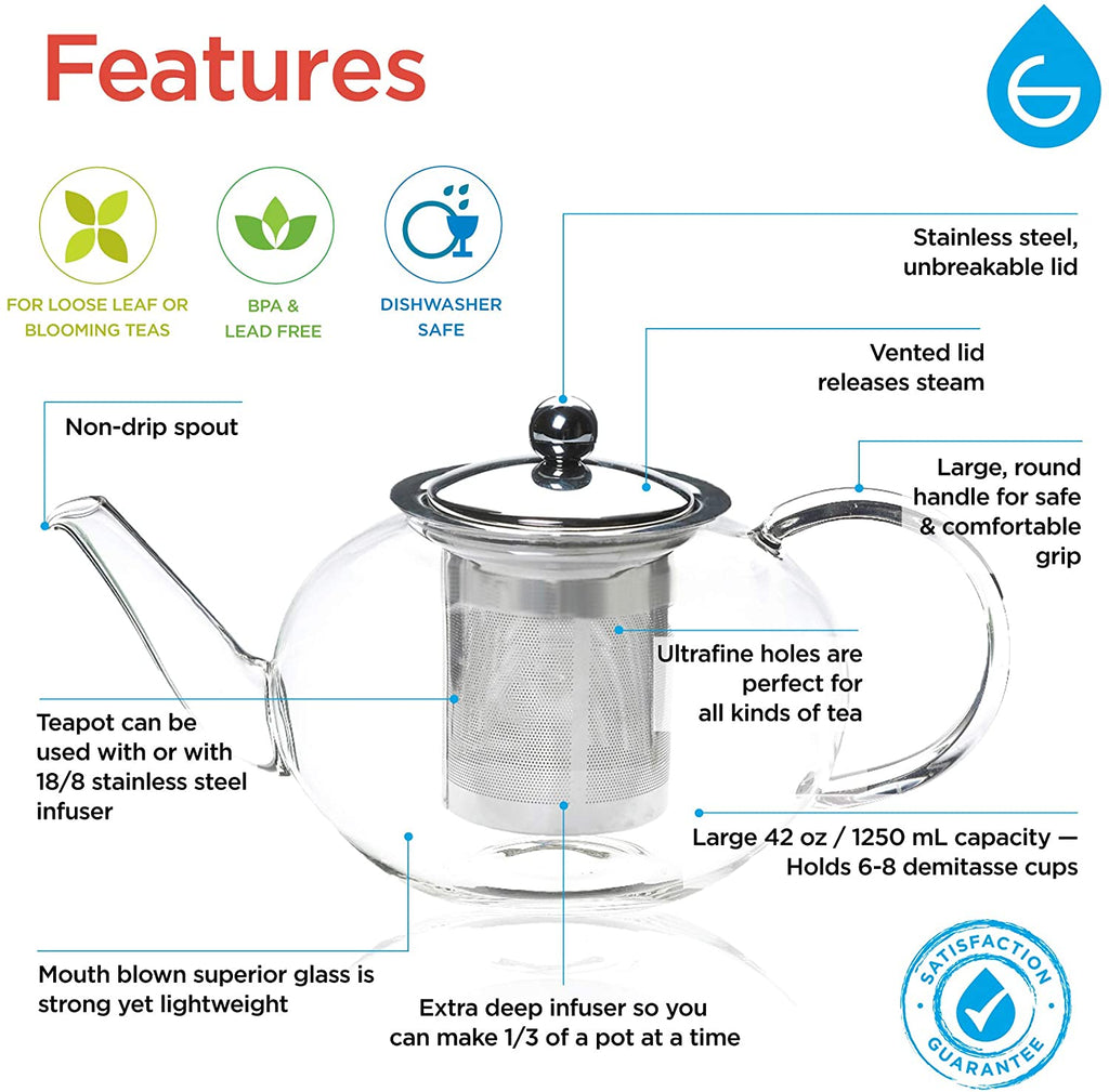 Infuser Teapot: GROSCHE Joliette - 1250ml/42 fl. oz - Package of 2